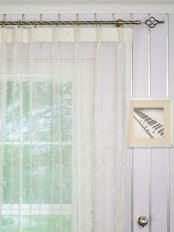 Elbert Branch Leaves Pattern Embroidered Double Pinch Pleat Sheer Curtain Panels Heading Style