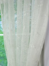 Elbert Branch Leaves Pattern Embroidered Rod Pocket Sheer Curtains