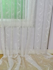 Elbert Vine Floral Embroidered Custom Made Sheer Curtains White Sheer Curtains