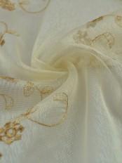 Elbert Vine Floral Pattern Embroidered Rod Pocket Sheer Curtains
