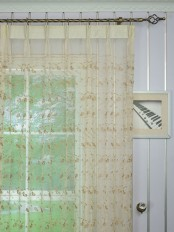 Elbert Damask Pattern Embroidered Double Pinch Pleat Sheer Curtain Panels Online Heading Style