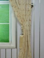 Elbert Damask Embroidered Custom Made Sheer Curtains White Sheer Curtain Panel Tassel Tieback