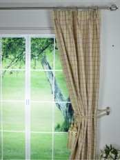 Extra Long Hudson Small Plaid Blackout Double Pinch Pleat Curtains