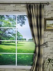 Extra Long Hudson Big Plaid Blackout Double Pinch Pleat Curtains