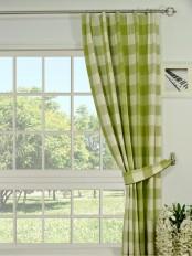 Moonbay Checks Versatile Pleat Cotton Curtain