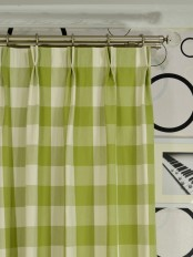 Extra Long Moonbay Checks Double Pinch Pleat Cotton Curtains