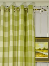 Extra Long Moonbay Checks Grommet Cotton Curtains