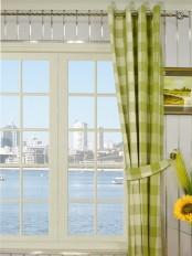 Moonbay Checks Grommet Cotton Curtains