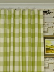 Extra Long Moonbay Checks Back Tab Cotton Curtains