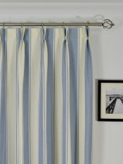 Extra Long Moonbay Stripe Double Pinch Pleat Cotton Curtains