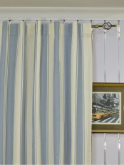 Extra Long Moonbay Stripe Back Tab Cotton Curtains