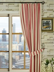Moonbay Narrow-stripe Versatile Pleat Cotton Curtain