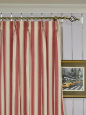 Extra Long Moonbay Narrow-stripe Double Pinch Pleat Cotton Curtains