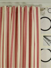 Extra Long Moonbay Narrow-stripe Back Tab Cotton Curtains
