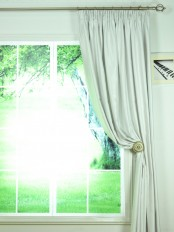 Swan Beige and Yellow Solid Pencil Pleat Ready Made Curtains