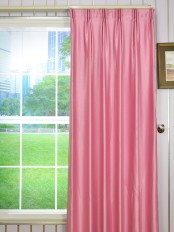 Swan Pink and Red Solid Versatile Pleat Ready Made Curtains