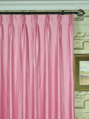 Extra Wide Swan Pink and Red Solid Double Pinch Pleat Curtains