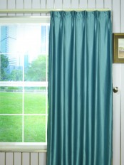 Swan Gray and Blue Solid Versatile Pleat Ready Made Curtains