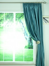 Swan Gray and Blue Solid Pencil Pleat Ready Made Curtains