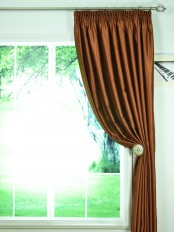 Swan Brown Solid Pencil Pleat Ready Made Curtains