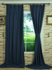 Hudson Cotton Blend Solid Versatile Pleat Curtain With Fabric Tieback
