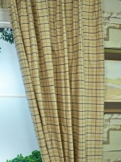 Hudson Cotton Blend Small Plaid Custom Made Curtains Coffee Color