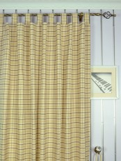 Extra Wide Hudson Cotton Blend Small Plaid Tab Top Curtains