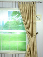 Hudson Cotton Blend Small Plaid Tab Top Curtain