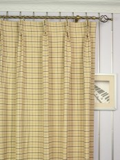 Extra Wide Hudson Cotton Blend Small Plaid Double Pinch Pleat Curtains