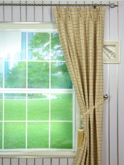 Hudson Cotton Blend Small Plaid Double Pinch Pleat Curtain