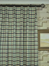 Extra Wide Hudson Cotton Blend Small Check Versatile Pleat Curtains