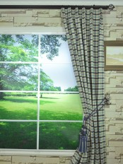 Hudson Cotton Blend Small Check Versatile Pleat Curtain