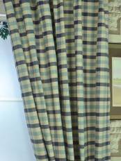 Hudson Cotton Blend Small Check Custom Made Curtains Bondi blue Color