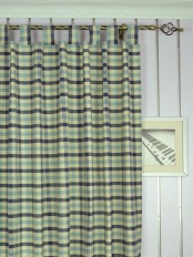 Extra Wide Hudson Cotton Blend Small Check Tab Top Curtains