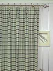 Extra Wide Hudson Cotton Blend Small Check Double Pinch Pleat Curtains