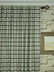 Extra Wide Hudson Cotton Blend Small Check Back Tab Curtains