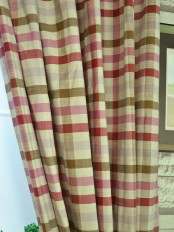 Hudson Cotton Blend Middle Check Custom Made Curtains Cardinal Color
