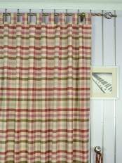 Extra Wide Hudson Cotton Blend Middle Check Tab Top Curtains