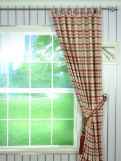 Hudson Cotton Blend Middle Check Tab Top Curtain