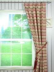 Hudson Cotton Blend Middle Check Double Pinch Pleat Curtain