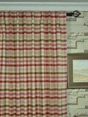Extra Wide Hudson Cotton Blend Middle Check Back Tab Curtains