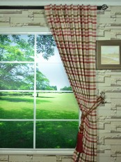 Hudson Cotton Blend Middle Check Back Tab Curtain