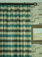 Extra Wide Hudson Cotton Blend Bold-scale Check Versatile Pleat Curtains