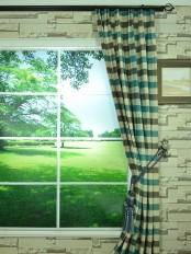 Hudson Cotton Blend Bold-scale Check Versatile Pleat Curtain