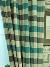 Hudson Cotton Blend Bold-scale Check Custom Made Curtains Celadon Blue Color