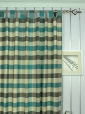 Extra Wide Hudson Cotton Blend Bold-scale Check Tab Top Curtains