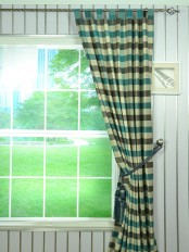Hudson Cotton Blend Bold-scale Check Tab Top Curtain