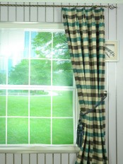 Hudson Cotton Blend Bold-scale Check Double Pinch Pleat Curtain