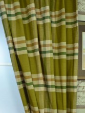 Hudson Cotton Blend Large Plaid Custom Made Curtains Olive Color
