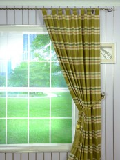 Hudson Cotton Blend Large Plaid Tab Top Curtain